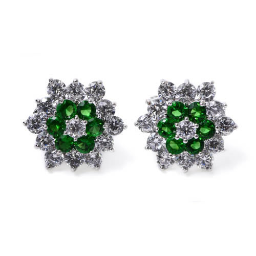 Qatar Earring rhodium plated and green zirconia. Antiallergic.