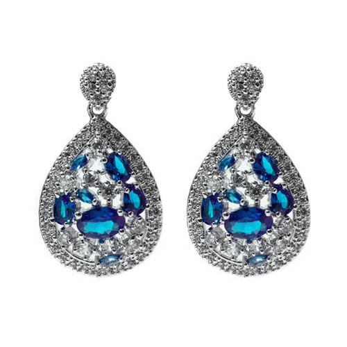 Irak Earring rhodium plated and pave, blue zirconia. Antiallergic