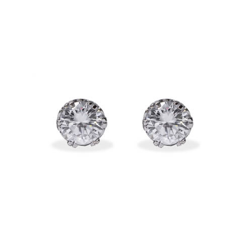 Stud Earring 6 claws white rhodium plated silver and white zirconia 6mm. Antiallergic