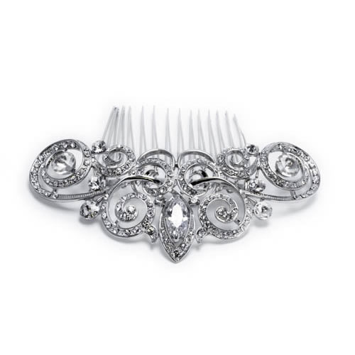 Carmen Comb silver plated and white crystal Antiallergic