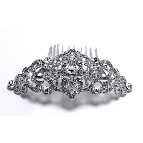 Lady Pilar Comb silver plated and white crystal Antiallergic