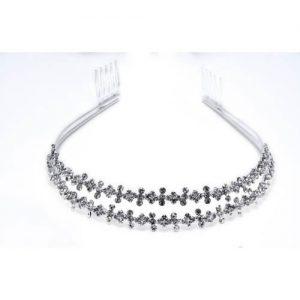 Imagen de la tiara Rectilíneo plateda y cristal blanco. material