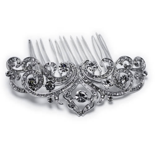 Fabiola Comb silver plated and white glass. Antiallergic