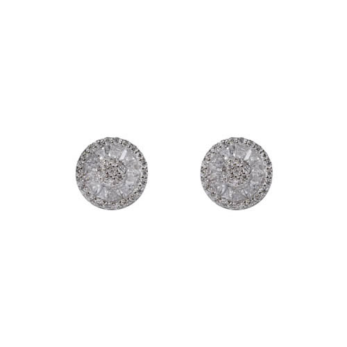 Princess Baguette Earring rhodium plated silver. Antiallergic