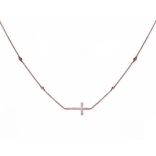 Cross Pendant rose gold plated silver and white zirconia. Antiallergic.