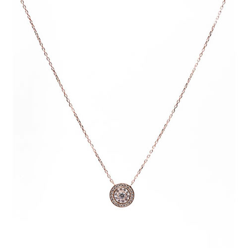 Orla Post Pendant rose gold plated silver and white zirconia. Antiallergic