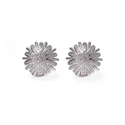 Earring rhodium silver plated. Antiallergic.