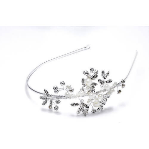 Little Flower Tiara silver plated and fresh water pearl. Antiallergic
