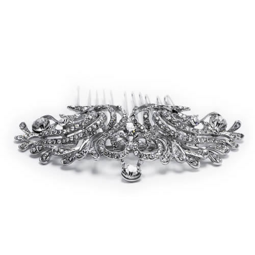 Alhambra Comb, silver plated and white zirconia. Antiallergic