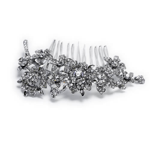 Little Flower Comb, silver plated and white glass. Antiallergic