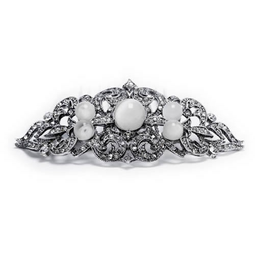 Image of the Lady Pilar Brooch antique silver plated with synthetic stone-moon