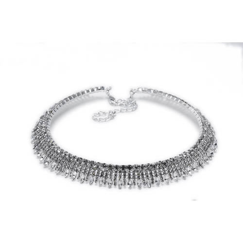 Image of the Pave Hanging Necklace rhodium and white glass