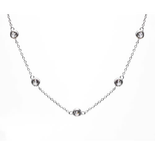 Tiffany Inspired Sprinkel Necklace rhodium plated silver and a white zirconia