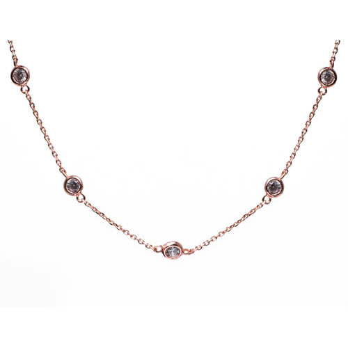 Tiffany Inspired Sprinkel Necklace rose gold plated silver and a white zirconia, 45 cm. Antiallergic.