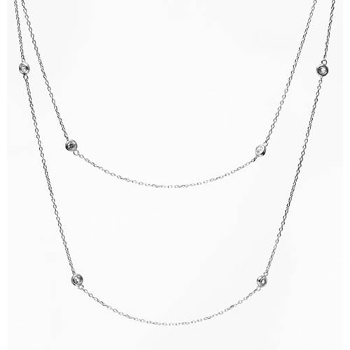 Tiffany Inspired Sprinkel Necklace rhodium plated silver and a white zirconia, 95 cm. Antiallergic.