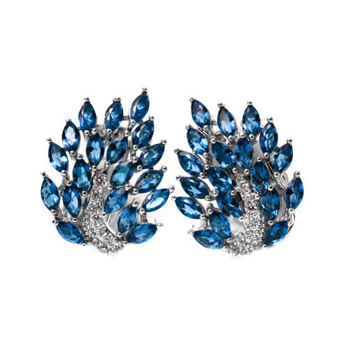 Navette Cluster Earring rhodium and blue zirconia. Antiallergic.