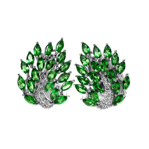 Navette Cluster Earring rhodium and green zirconia. Antiallergic.
