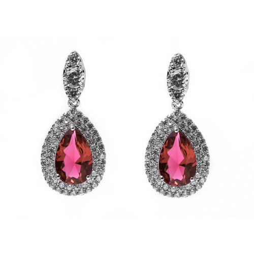 Bridal Pear Shape Earring rhodium and red zirconia. Antiallergic.