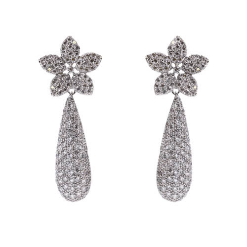 Brides Pave Tear Earring rhodium plated and white zirconia. Antiallergic